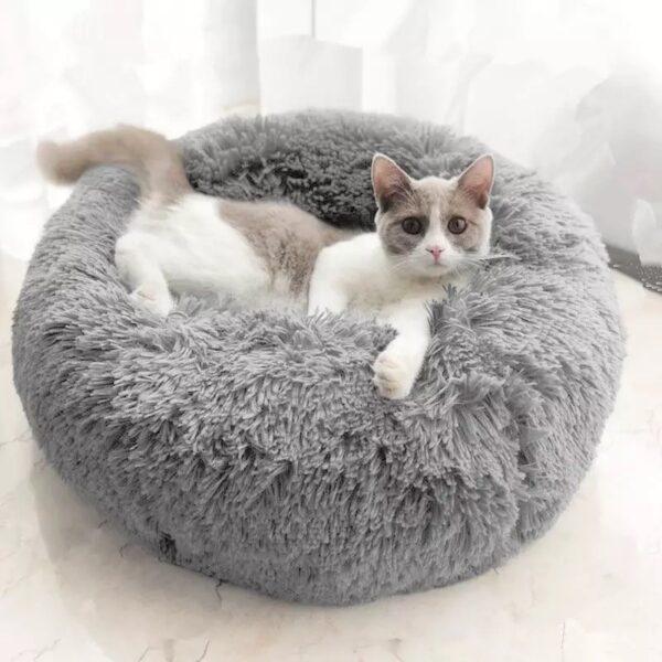 kuscheliges Katzenbett grau
